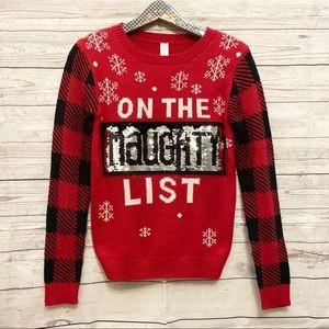 Naughty and nice sequin Christmas sweater